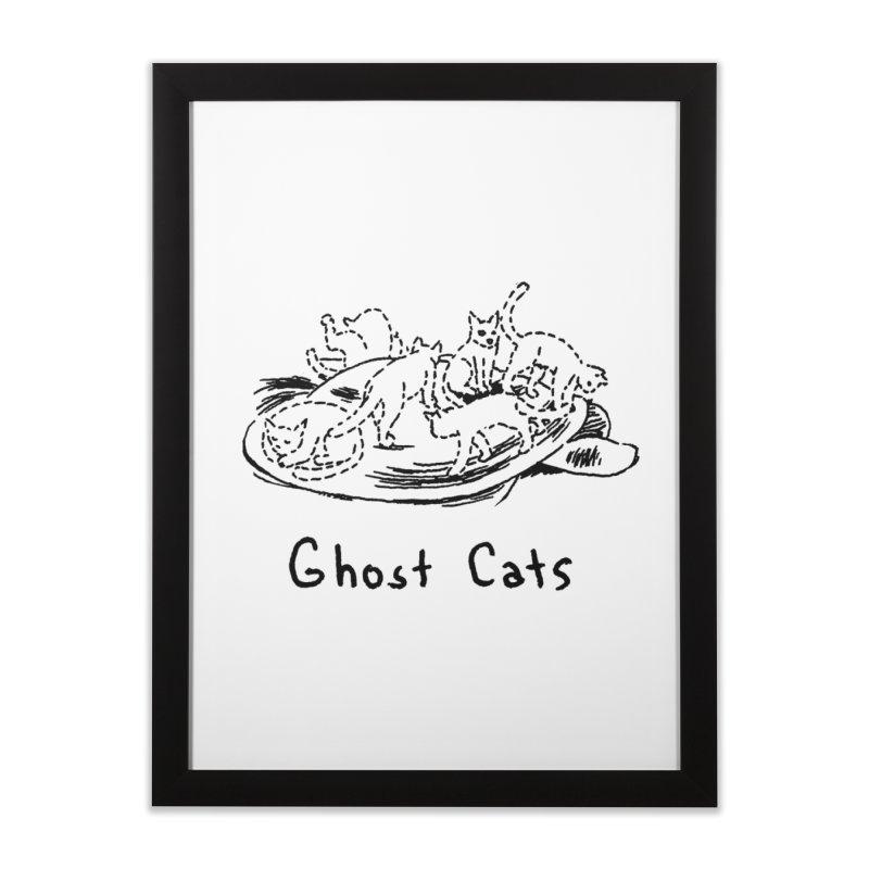 Ghost Cats (Gabrielle Bell, blk) Home Framed Fine Art Print by Uncivilized Books Merch Shop
