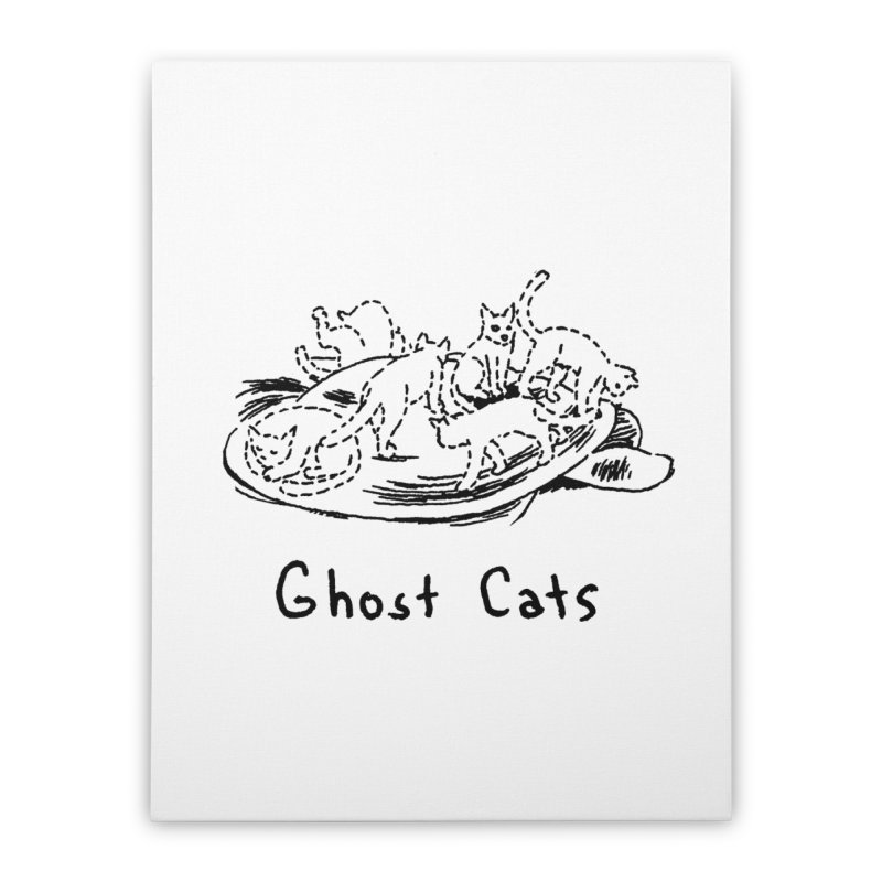 Ghost Cats (Gabrielle Bell, blk) Home Stretched Canvas by Uncivilized Books Merch Shop