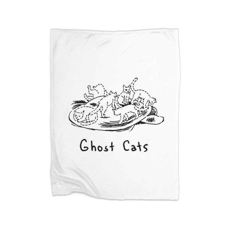 Ghost Cats (Gabrielle Bell, blk) Home Fleece Blanket Blanket by Uncivilized Books Merch Shop