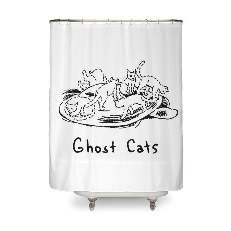 Ghost Cats (Gabrielle Bell, blk) Home Shower Curtain by Uncivilized Books Merch Shop