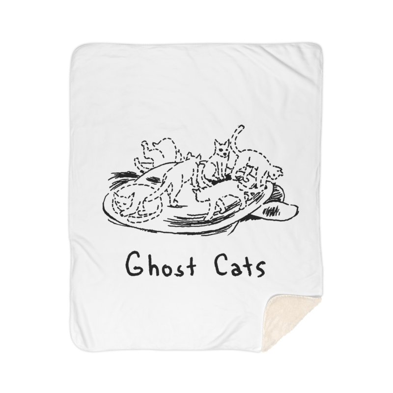 Ghost Cats (Gabrielle Bell, blk) Home Sherpa Blanket Blanket by Uncivilized Books Merch Shop