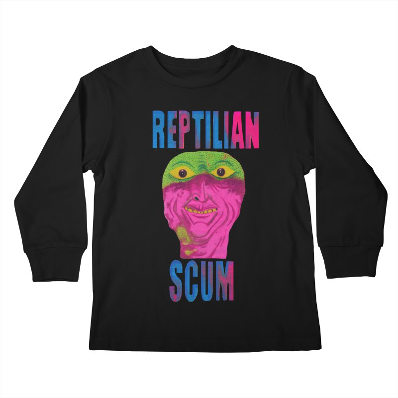 Reptilian George Bush Kids Longsleeve T-Shirt by UNCLE DAD PRODUCTIONS
