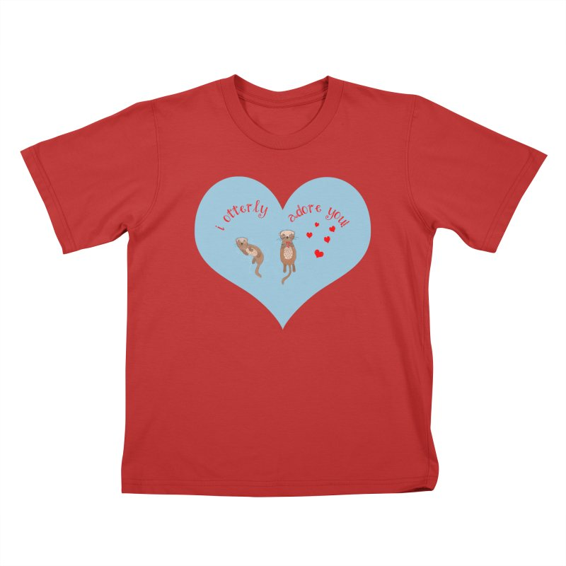 I Otterly Adore You! in Kids T-Shirt Red by Uncommon Depth's Artist Shop