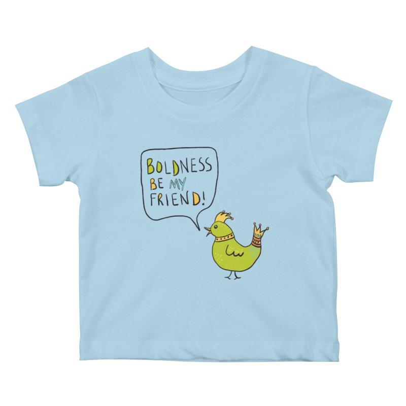 Boldness Bird in Kids Baby T-Shirt Powder Blue by Uncommon Depth's Artist Shop