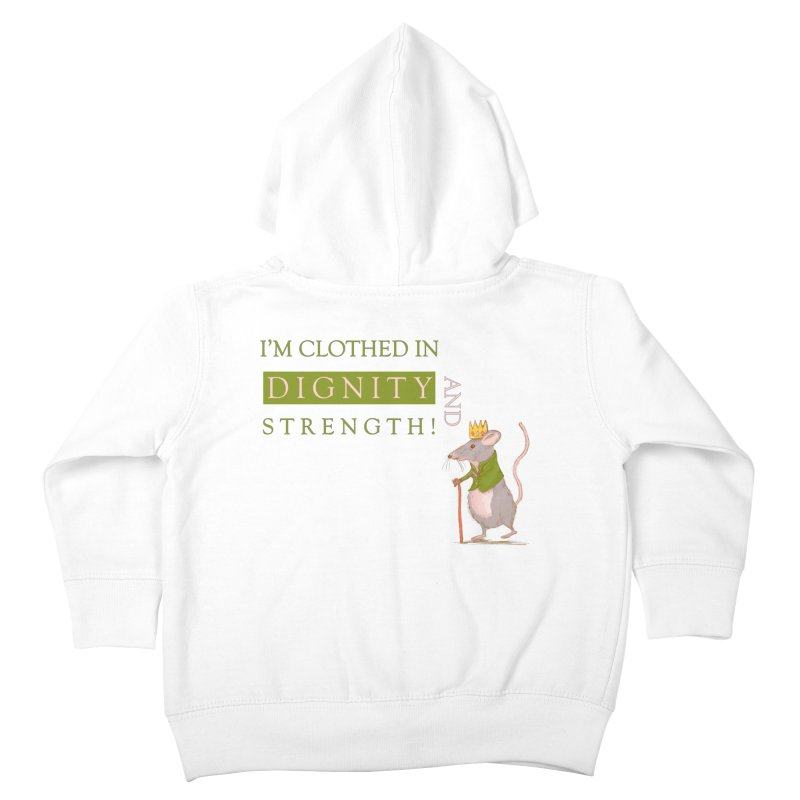Clothed In Dignity And Strength in Kids Toddler Zip-Up Hoody White by Uncommon Depth's Artist Shop