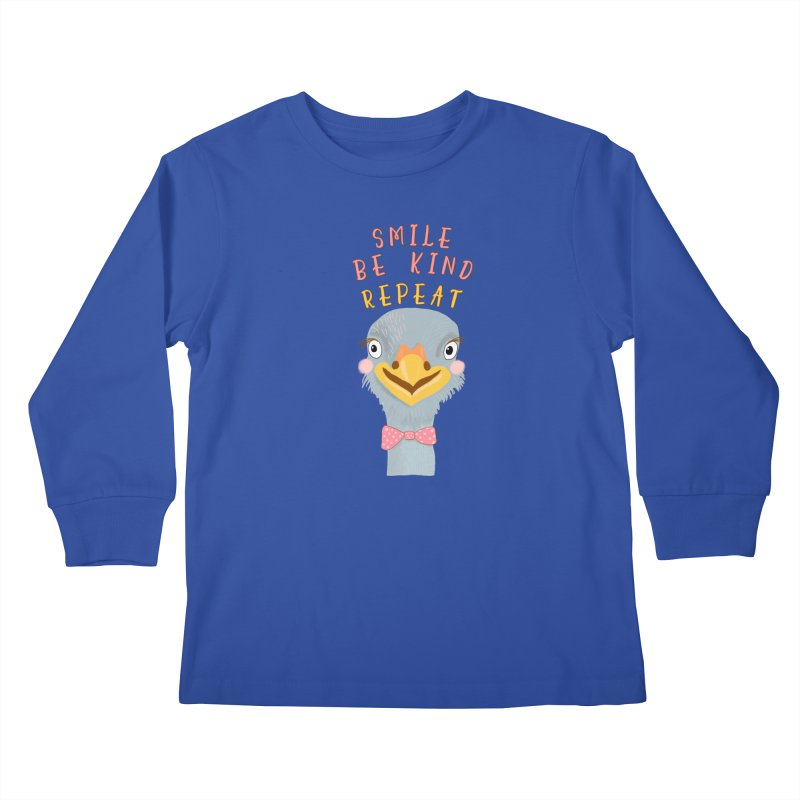Be Kind Ostrich in Kids Longsleeve T-Shirt Royal Blue by Uncommon Depth's Artist Shop