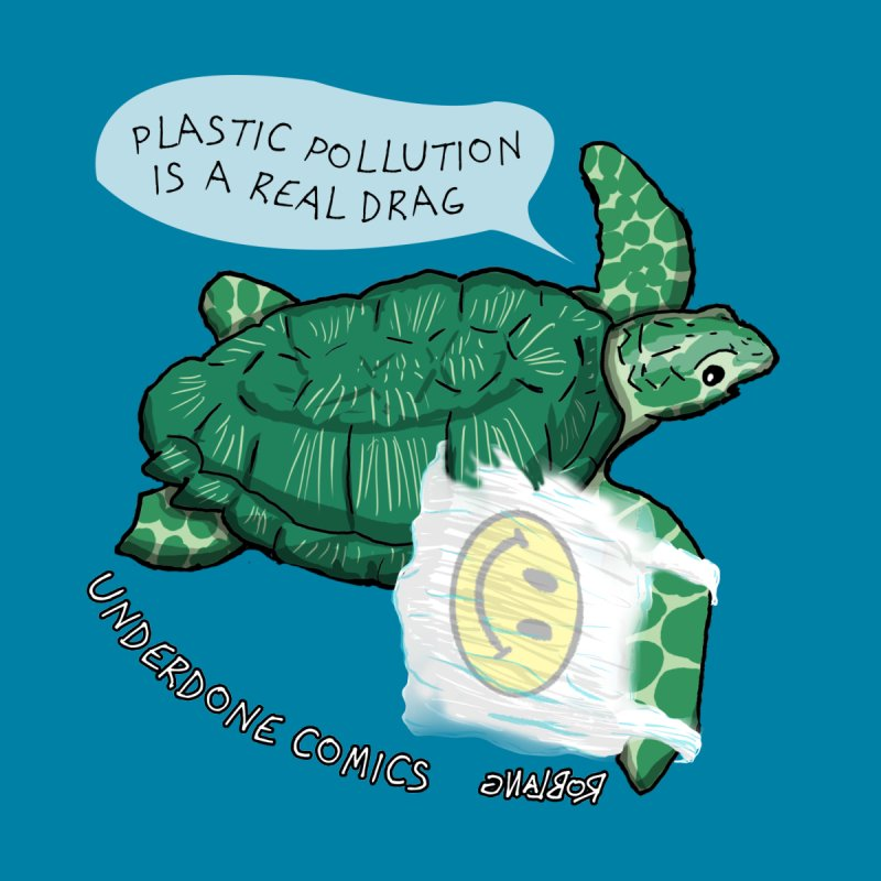 Plastic Pollution is a Real Drag Sea Turtle Men's T-Shirt by The Underdone Comics Shop