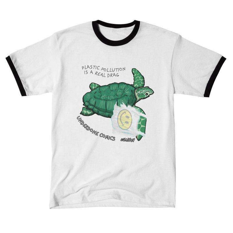Plastic Pollution is a Real Drag Sea Turtle Women's T-Shirt by The Underdone Comics Shop