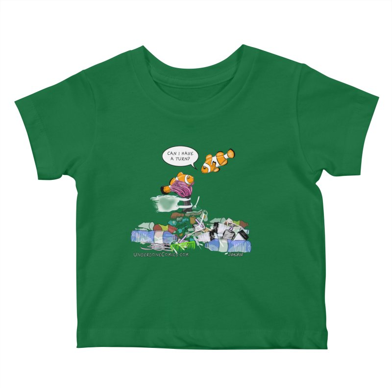 Clownfish Asks: Can I have a turn? Kids Baby T-Shirt by The Underdone Comics Shop