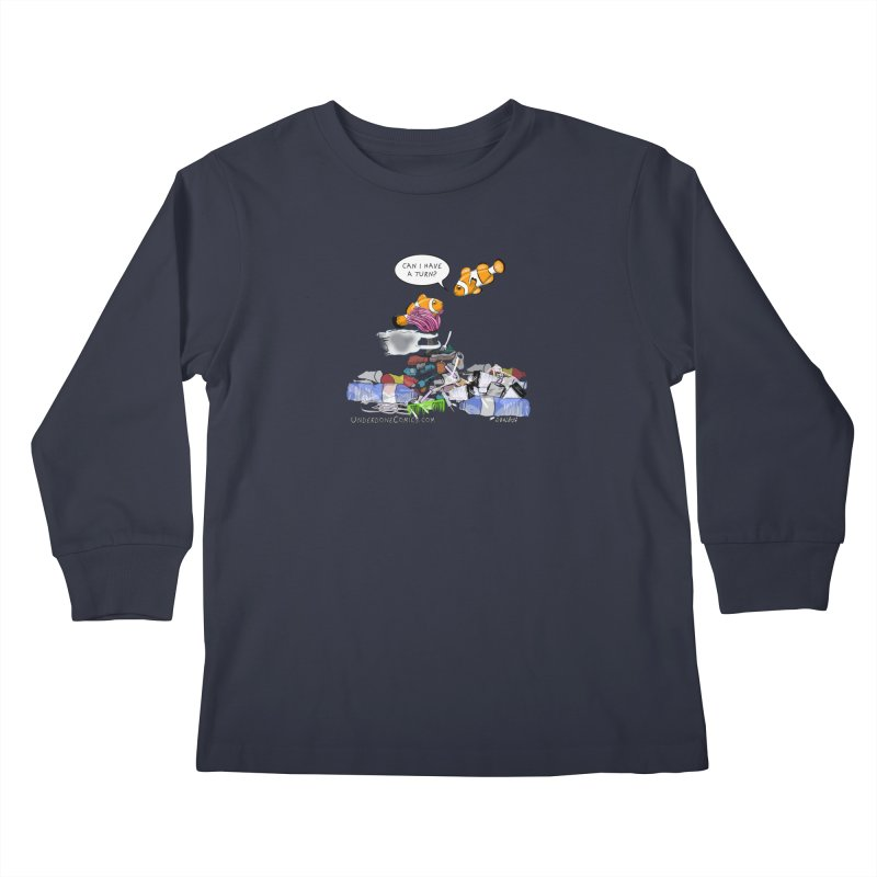 Clownfish Asks: Can I have a turn? Kids Longsleeve T-Shirt by The Underdone Comics Shop