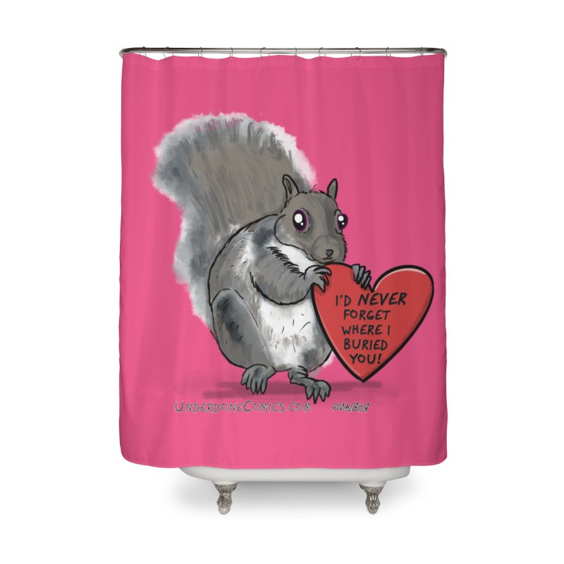 ValentineSquirrel Home Shower Curtain by The Underdone Comics Shop