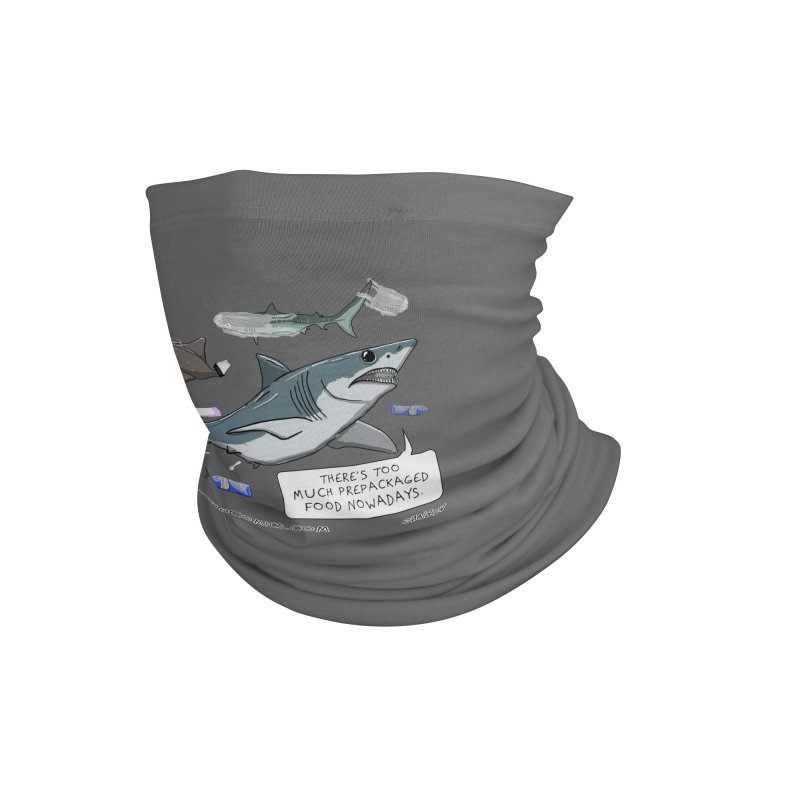 Plastic Pollution Shark Accessories Neck Gaiter by The Underdone Comics Shop