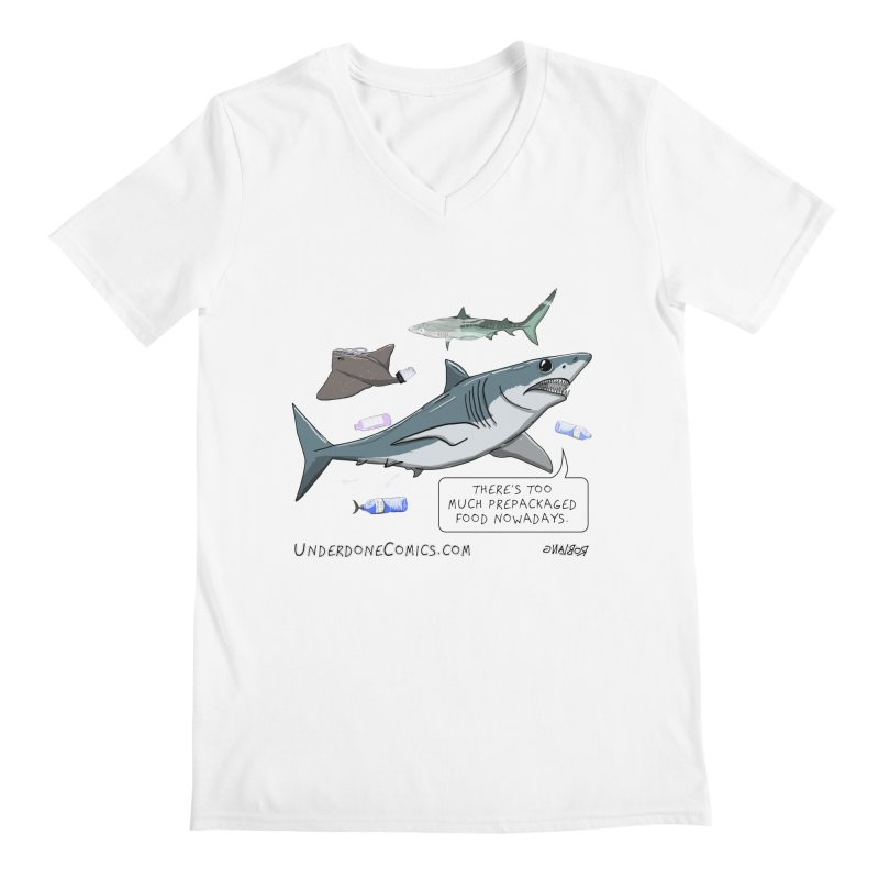 Plastic Pollution Shark Men's V-Neck by The Underdone Comics Shop