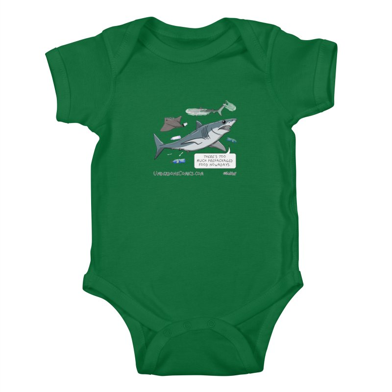 Plastic Pollution Shark Kids Baby Bodysuit by The Underdone Comics Shop