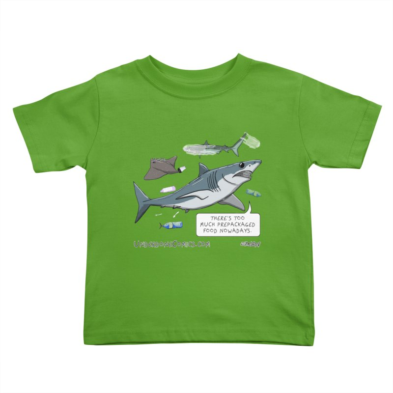 Plastic Pollution Shark Kids Toddler T-Shirt by The Underdone Comics Shop