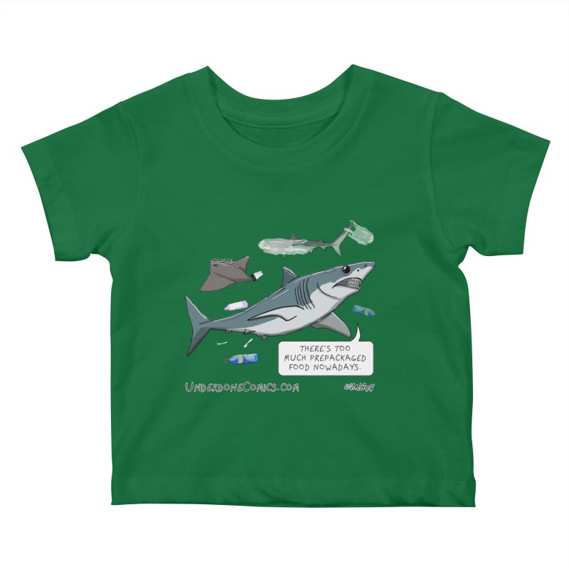 Plastic Pollution Shark Kids Baby T-Shirt by The Underdone Comics Shop