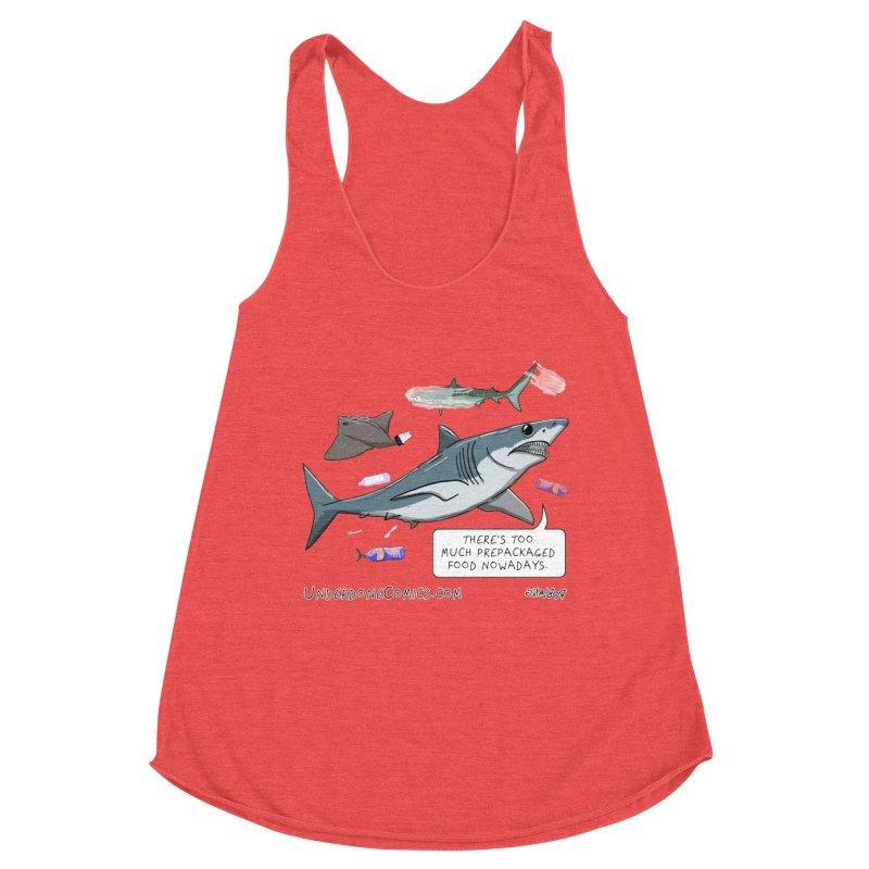 Plastic Pollution Shark Women's Tank by The Underdone Comics Shop