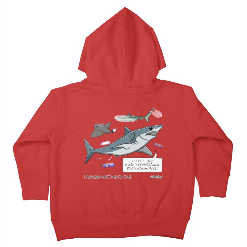 Plastic Pollution Shark Kids Toddler Zip-Up Hoody by The Underdone Comics Shop
