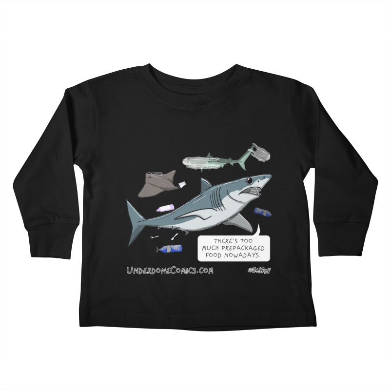 Plastic Pollution Shark Kids Toddler Longsleeve T-Shirt by The Underdone Comics Shop