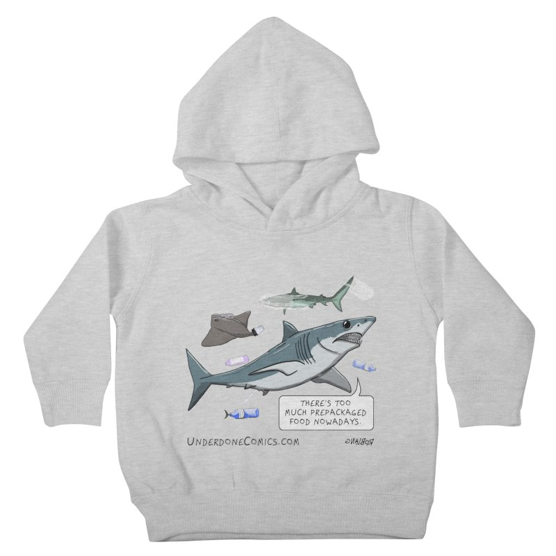 Plastic Pollution Shark Kids Toddler Pullover Hoody by The Underdone Comics Shop