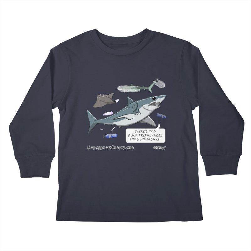 Plastic Pollution Shark Kids Longsleeve T-Shirt by The Underdone Comics Shop