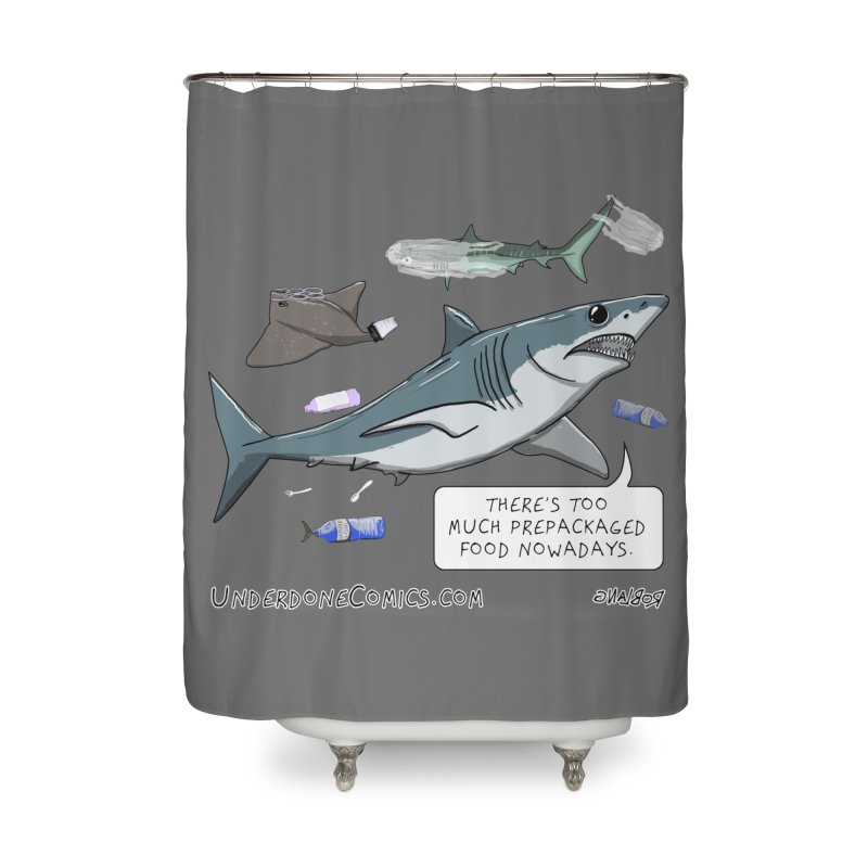 Plastic Pollution Shark Home Shower Curtain by The Underdone Comics Shop