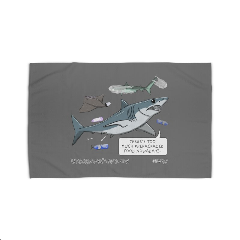 Plastic Pollution Shark Home Rug by The Underdone Comics Shop