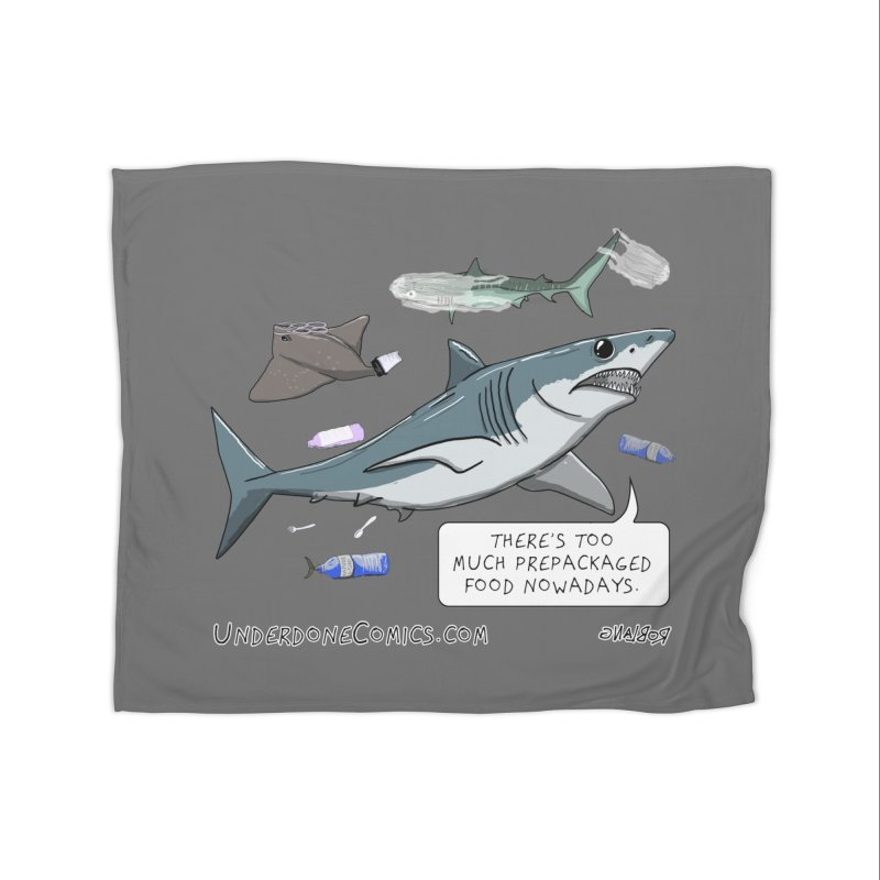 Plastic Pollution Shark Home Blanket by The Underdone Comics Shop