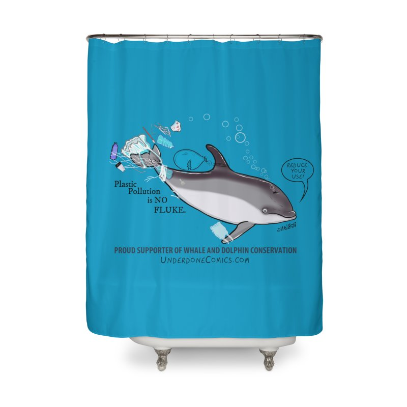 Plastic Pollution is NO FLUKE Home Shower Curtain by The Underdone Comics Shop