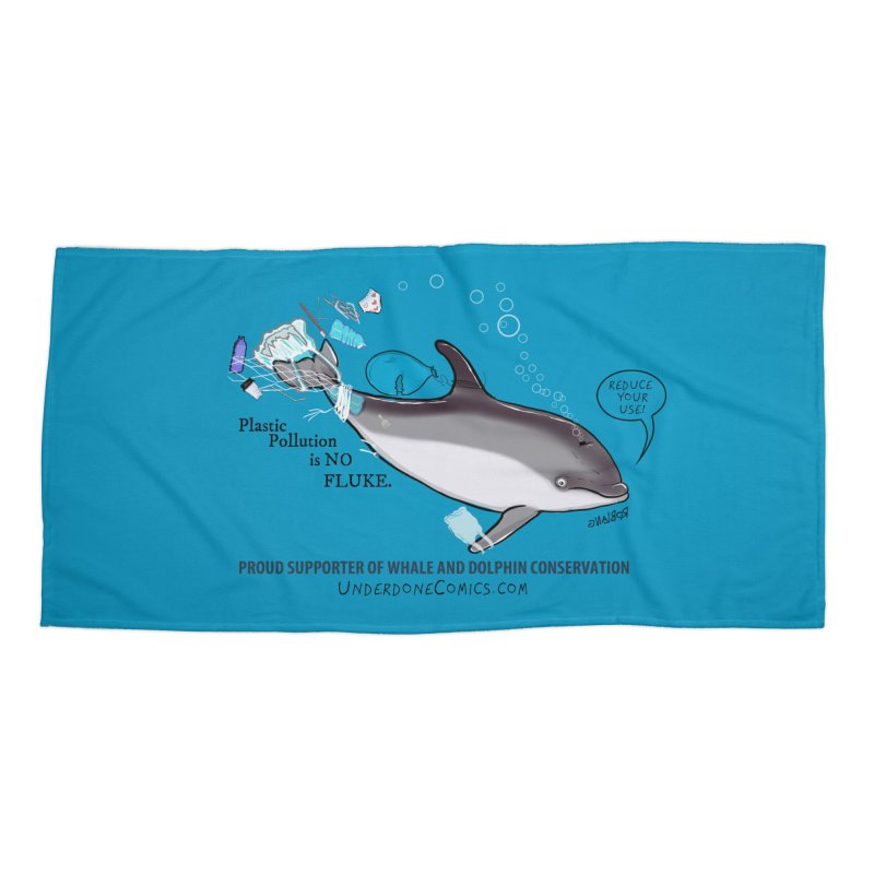 Plastic Pollution is NO FLUKE Accessories Beach Towel by The Underdone Comics Shop