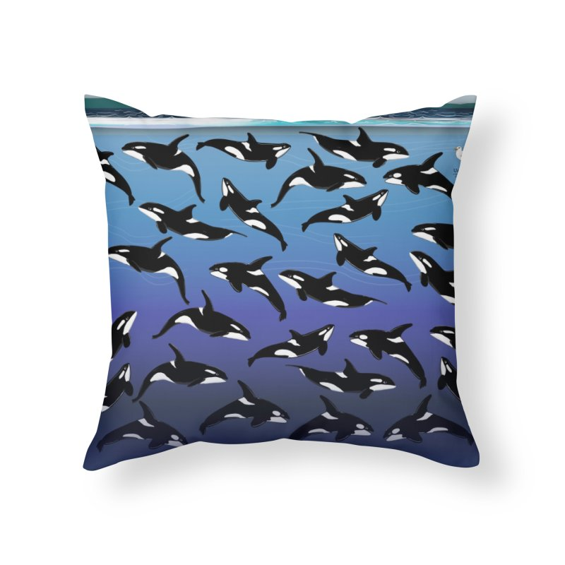 Some Orcas Swimming Around Home Throw Pillow by The Underdone Comics Shop