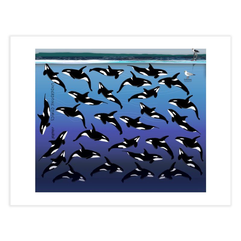 Some Orcas Swimming Around Home Fine Art Print by The Underdone Comics Shop