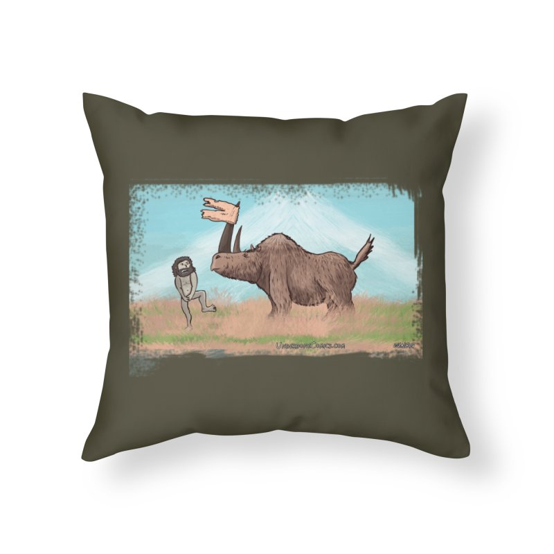 Woolly Rhino's Got Your Pants! Home Throw Pillow by The Underdone Comics Shop