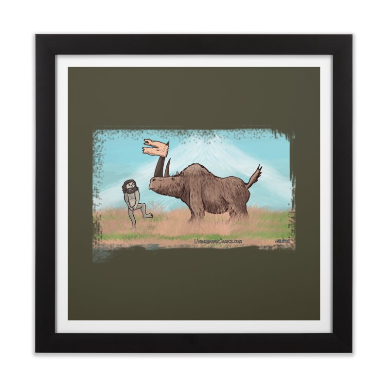 Woolly Rhino's Got Your Pants! Home Framed Fine Art Print by The Underdone Comics Shop