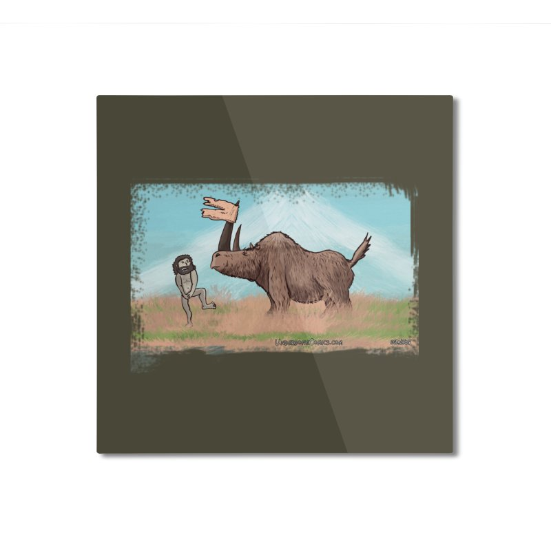 Woolly Rhino's Got Your Pants! Home Mounted Aluminum Print by The Underdone Comics Shop