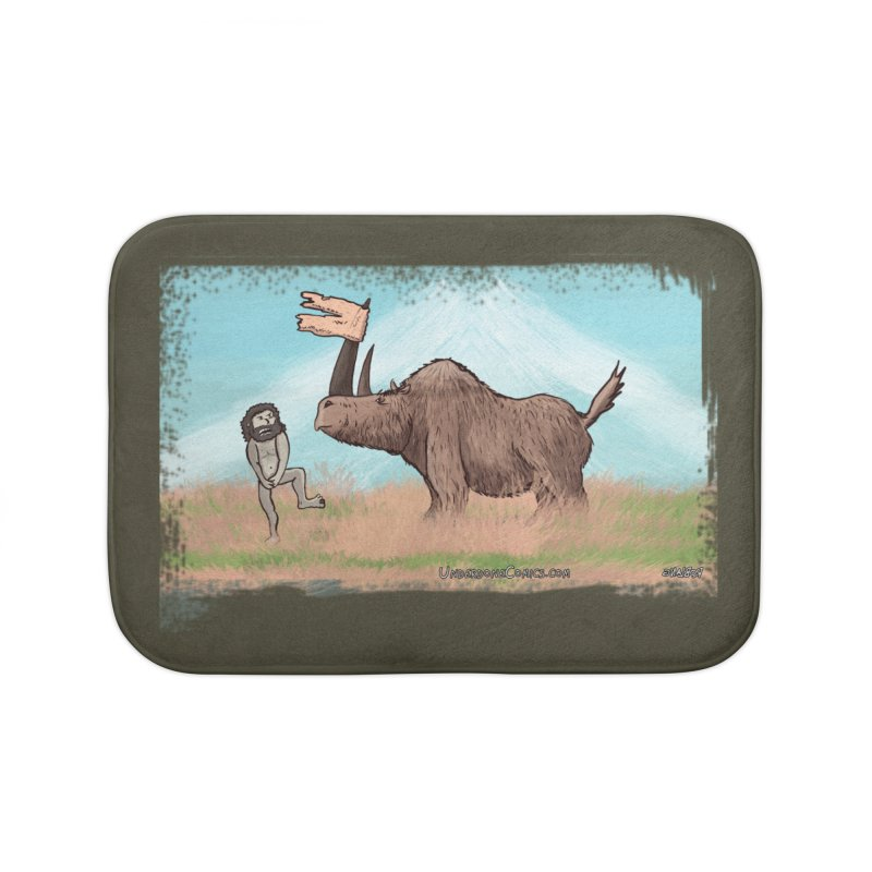 Woolly Rhino's Got Your Pants! Home Bath Mat by The Underdone Comics Shop