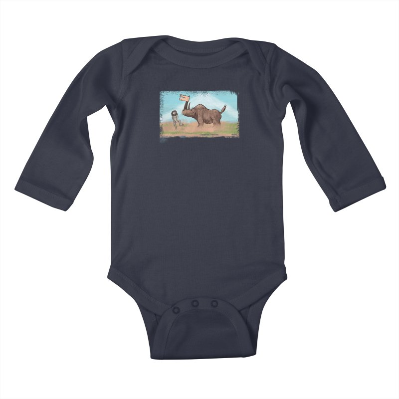 Woolly Rhino's Got Your Pants! Kids Baby Longsleeve Bodysuit by The Underdone Comics Shop