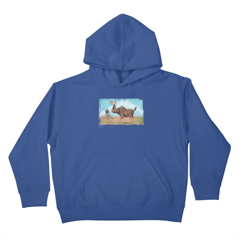 Woolly Rhino's Got Your Pants! Kids Pullover Hoody by The Underdone Comics Shop