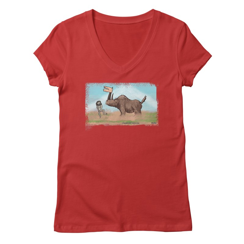 Woolly Rhino's Got Your Pants! Women's V-Neck by The Underdone Comics Shop
