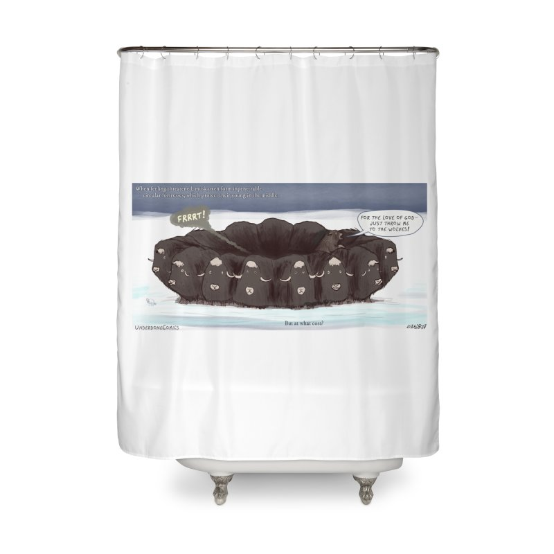 A Muskox Circle Home Shower Curtain by The Underdone Comics Shop