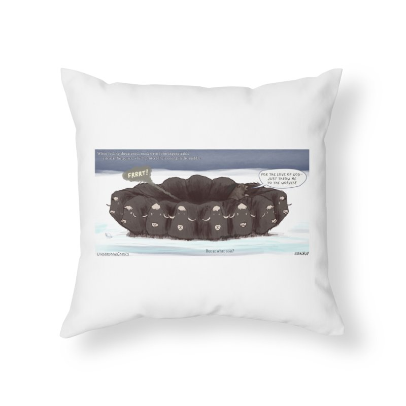 A Muskox Circle Home Throw Pillow by The Underdone Comics Shop