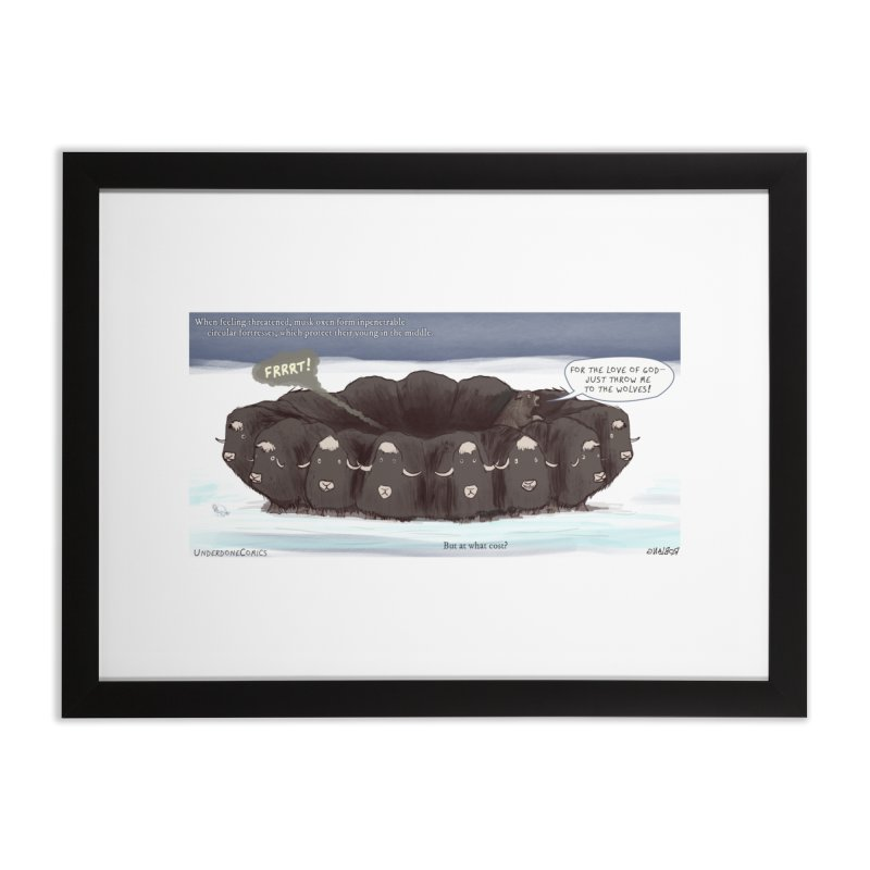 A Muskox Circle Home Framed Fine Art Print by The Underdone Comics Shop