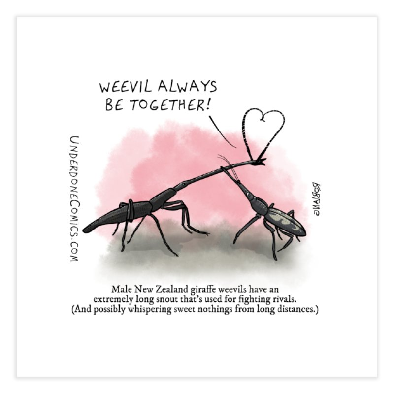 Giraffe Weevil Alvays Be Together Home Fine Art Print by The Underdone Comics Shop