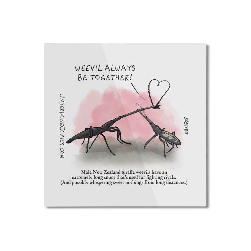 Giraffe Weevil Alvays Be Together Home Mounted Aluminum Print by The Underdone Comics Shop