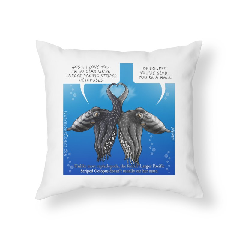 Lesser Pacific Striped Octopus Love Home Throw Pillow by The Underdone Comics Shop