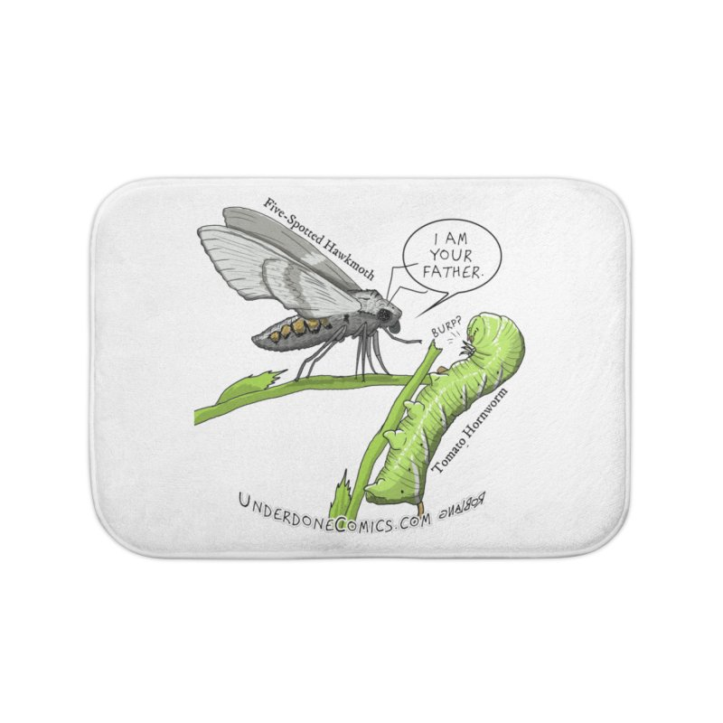 Tomato Hornworm & Hawkmoth: Father & Child Home Bath Mat by The Underdone Comics Shop