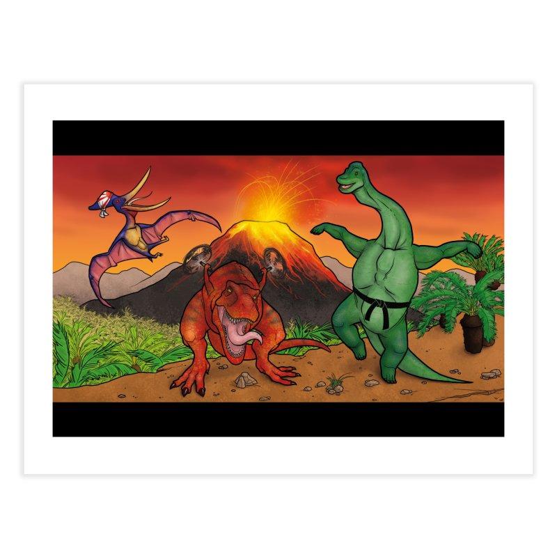 Karate Dinosaurs Home Fine Art Print by UnearthlyMike's Artist Shop