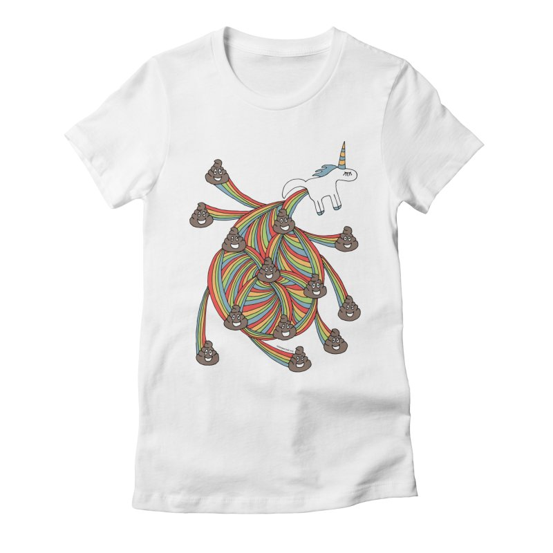 Pooping Unicorn Women's Fitted T-Shirt by unexpected's Artist Shop