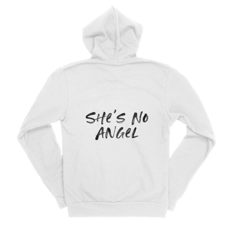 She's No Angel Women's Sponge Fleece Zip-Up Hoody by Unhuman Design