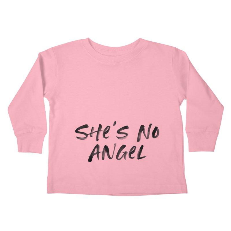 She's No Angel Kids Toddler Longsleeve T-Shirt by Unhuman Design